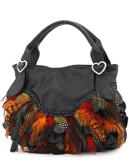 FEATHER & RHINESTONE HEART ACCENT HOBO BAG